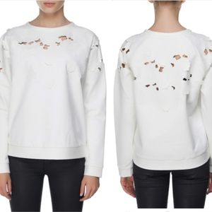 Tibi | Ivory Long Sleeve Cutout Floral Sweater